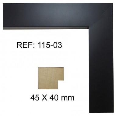 Moldura Taco Negra 40 x 40 mm