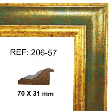 Gold and green moulding 70x30 mm
