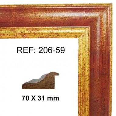 Moldura Oro y Rojo 70x30 mm