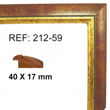Gold and red moulding  40x17 mm