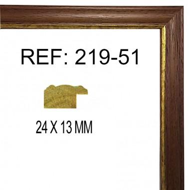 Moldura Nogal y Oro 25x13 mm