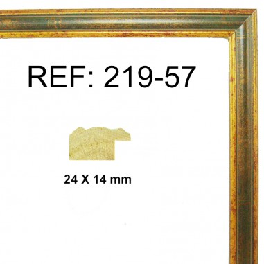 Gold and green moulding 25x13 mm