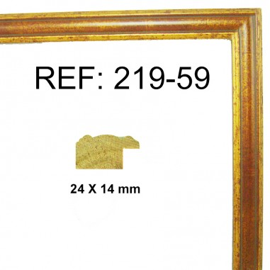 Gold and red moulding 25x13 mm