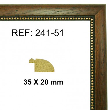 Walnut and gold moulding 25x13 mm