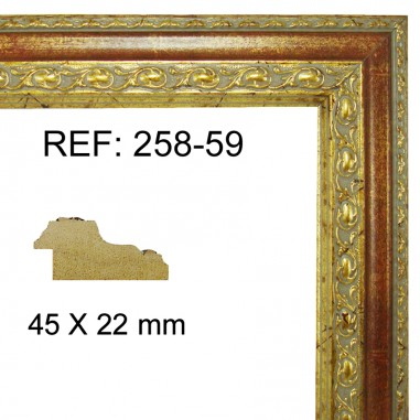 Gold and red moulding 45 x 25 mm