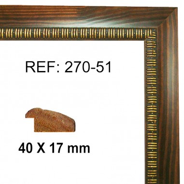 Walnut and Gold moulding 40 x 15 mm