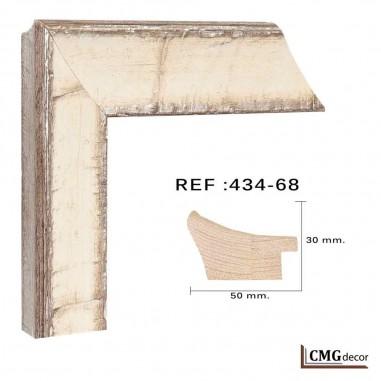 Moldura Plata y blanca moderna 50x30 mm ref: 434-68