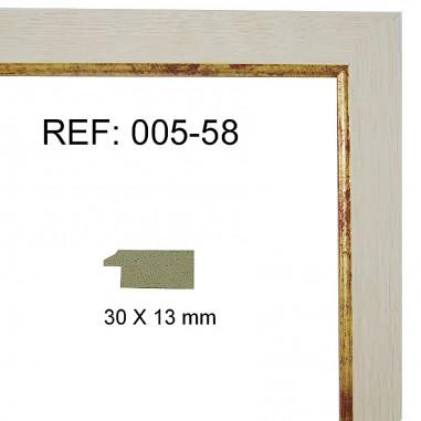 Moldura blanca y oro 30x13 mm
